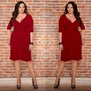 Kiyonna Red Faux Wrap Dress 3 3X Stretch Cocktail